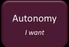 Autonomy. I want